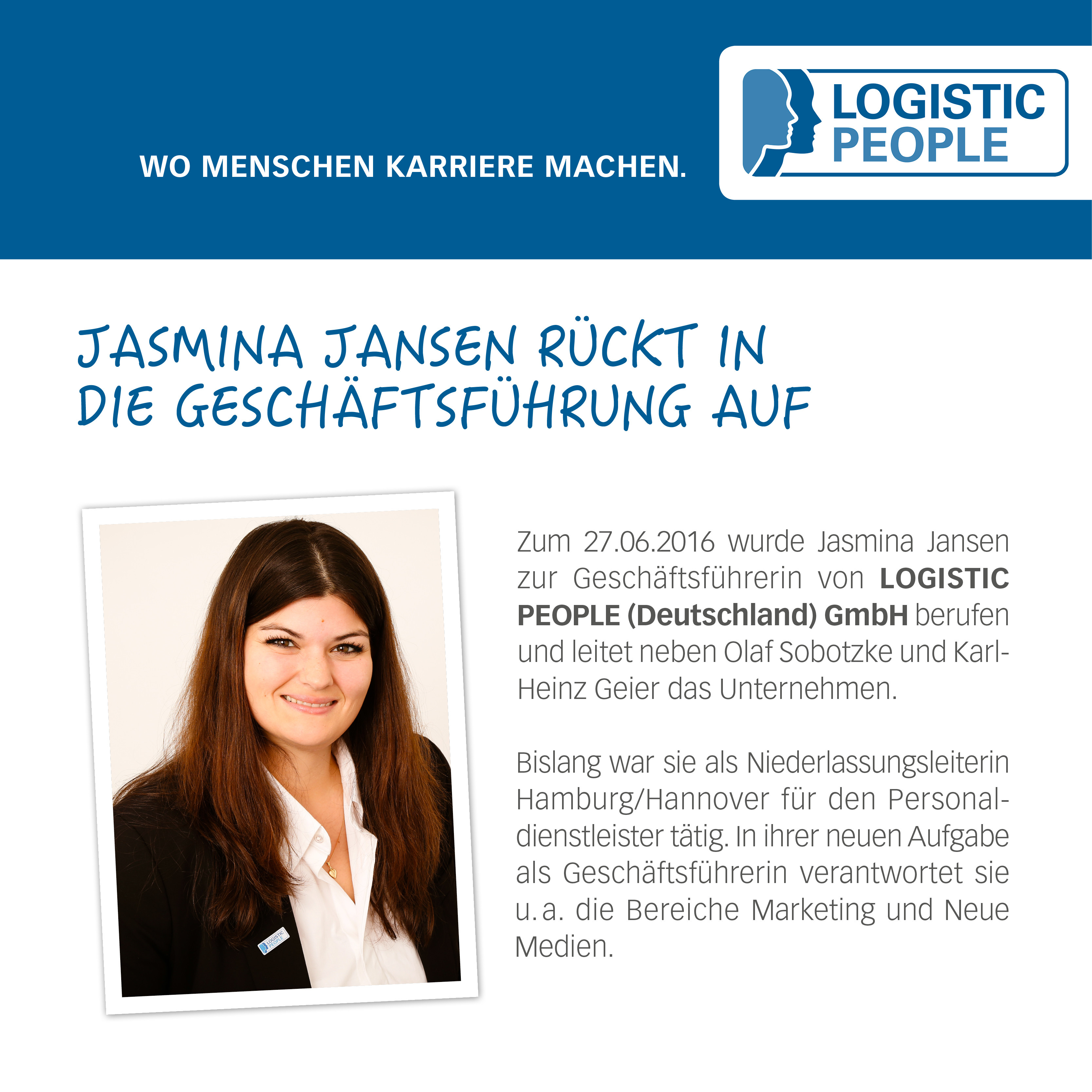 jasmina jansen r ckt in die gesch ftsf hrung auf logistic people logistik jobs und. Black Bedroom Furniture Sets. Home Design Ideas